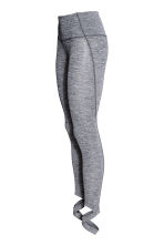 Yoga tights with foot straps - Grey marl - Ladies | H&M 3